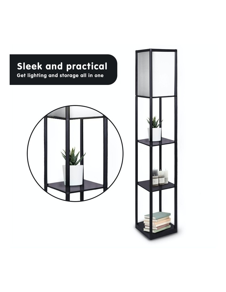 Etagere Floor Lamp Shelves Black Frame Tapered Linen Brown Fabric Shade Stand image 2