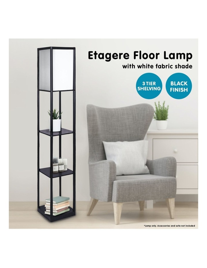 Etagere Floor Lamp Shelves Black Frame Tapered Linen Brown Fabric Shade Stand image 6