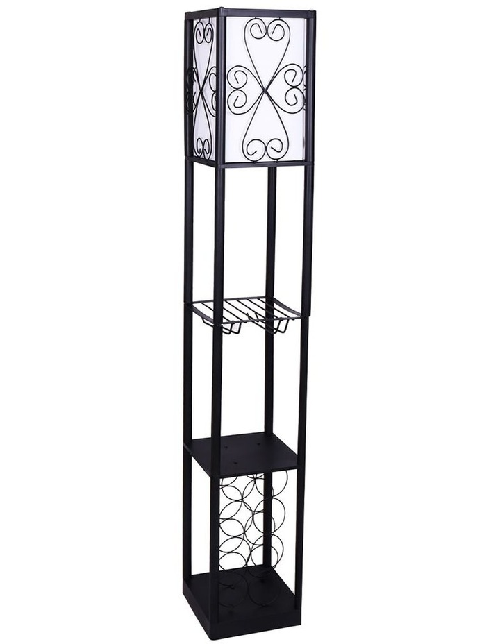 Metal Etagere Floor Lamp Stand Shade With Wine Holder Shelf Shelves Storage image 1