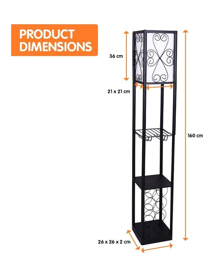 Metal Etagere Floor Lamp Stand Shade With Wine Holder Shelf Shelves Storage image 2