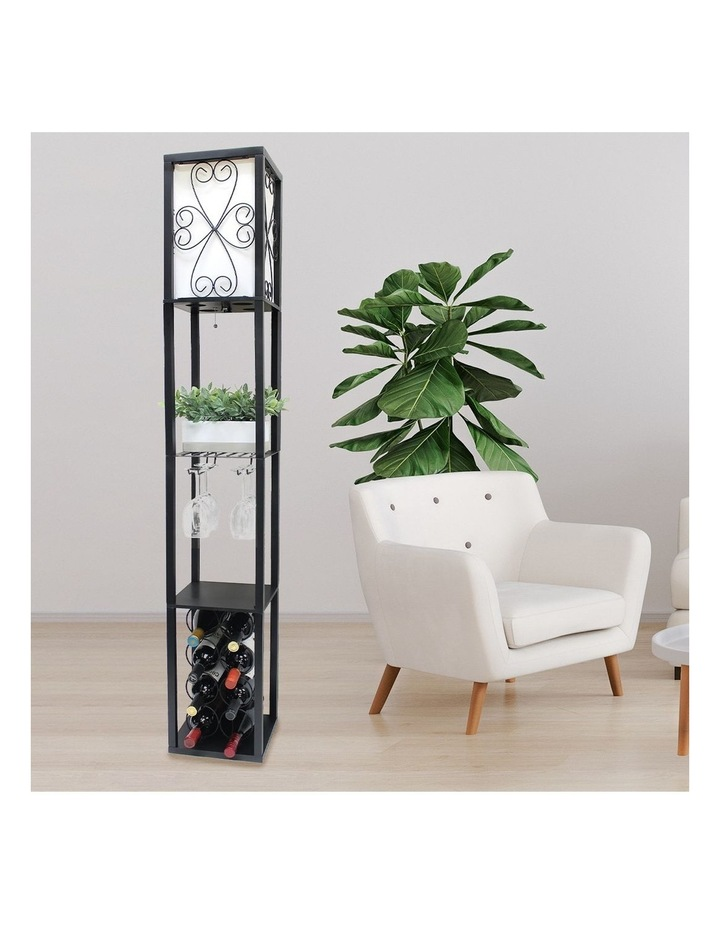 Metal Etagere Floor Lamp Stand Shade With Wine Holder Shelf Shelves Storage image 6