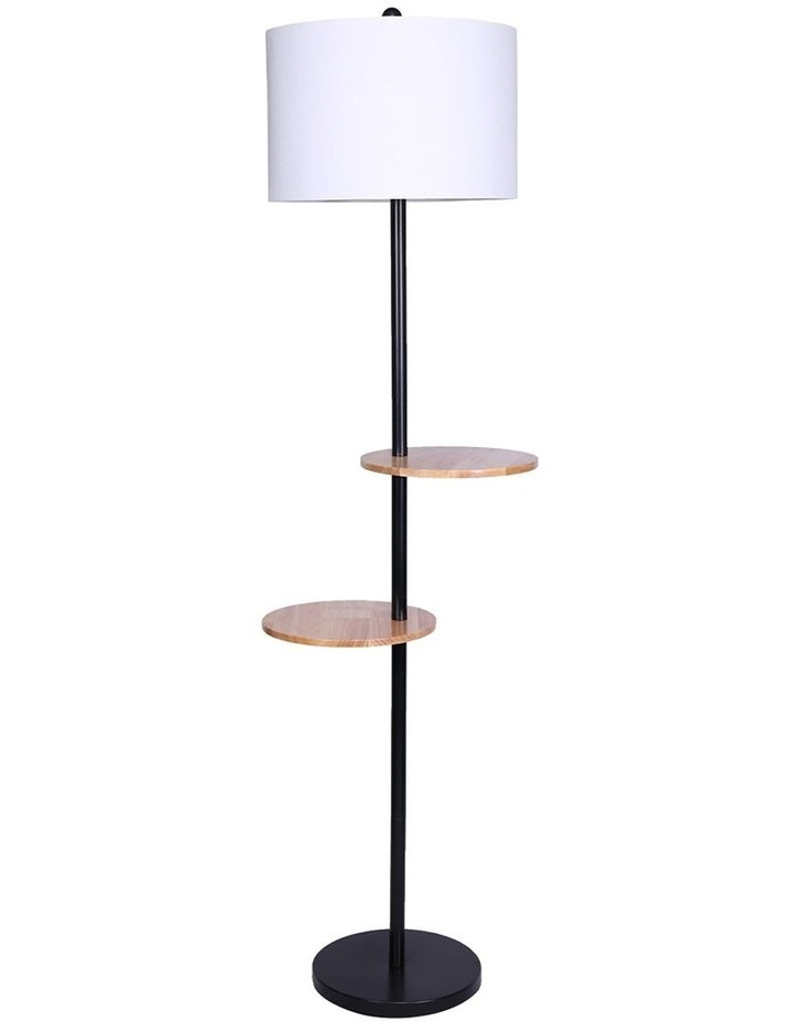 Metal Floor Lamp Stand With Black Post In Round Shade Wooden Shelves White image 1