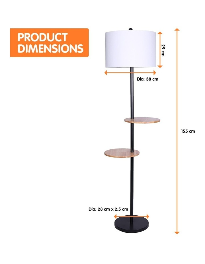 Metal Floor Lamp Stand With Black Post In Round Shade Wooden Shelves White image 2