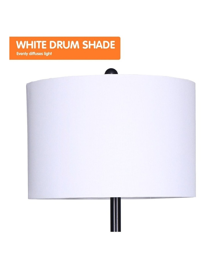 Metal Floor Lamp Stand With Black Post In Round Shade Wooden Shelves White image 3