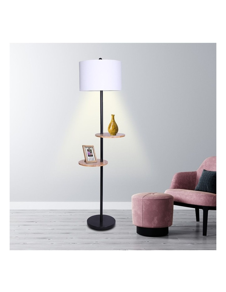 Metal Floor Lamp Stand With Black Post In Round Shade Wooden Shelves White image 5