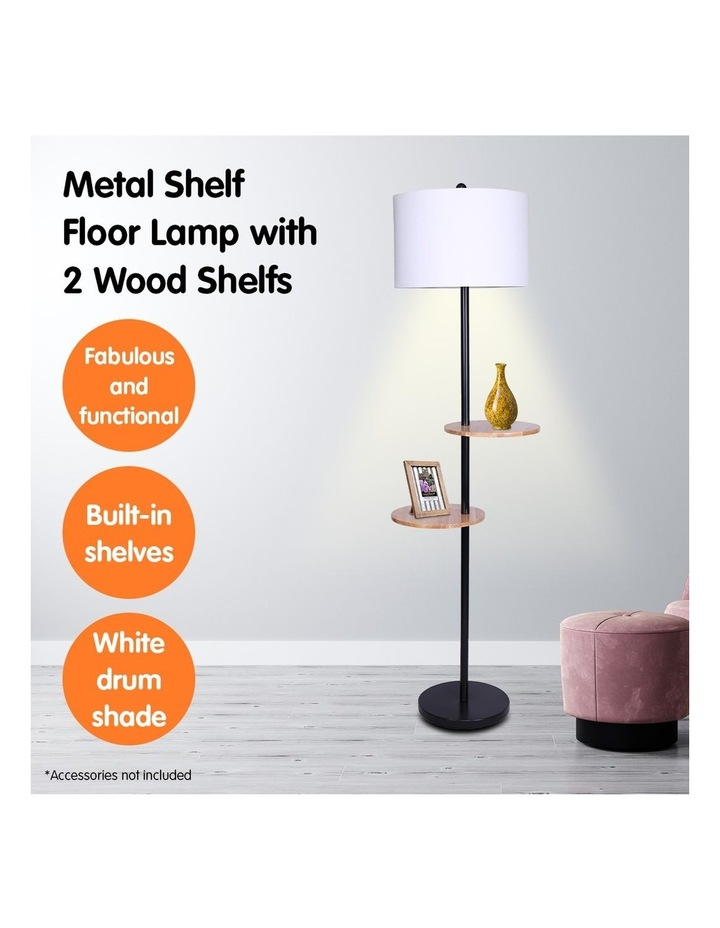 Metal Floor Lamp Stand With Black Post In Round Shade Wooden Shelves White image 6