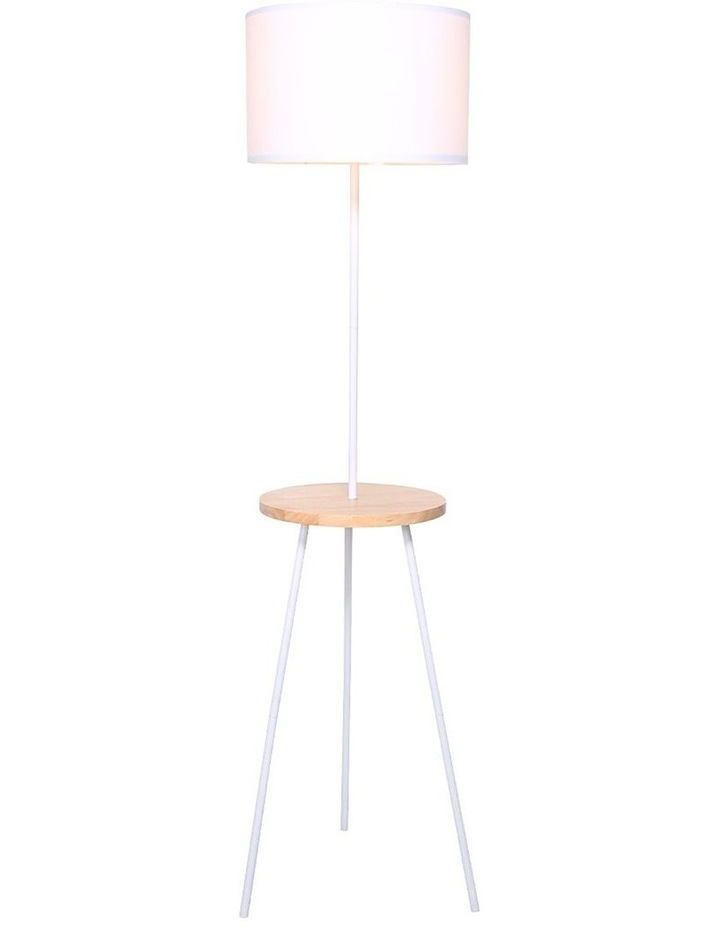 Metal Floor Lamp Stand Tripod In Round Shade Wooden Table Shelf White image 1