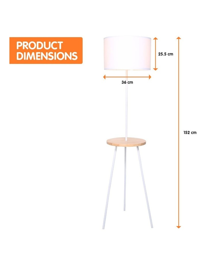 Metal Floor Lamp Stand Tripod In Round Shade Wooden Table Shelf White image 2