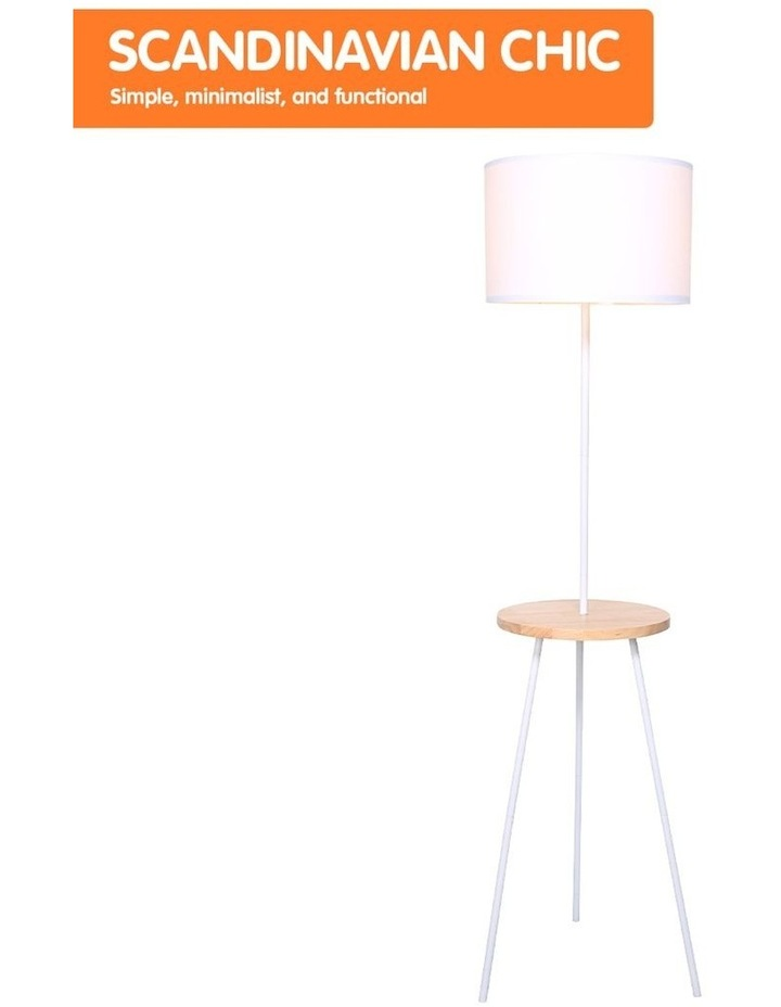 Metal Floor Lamp Stand Tripod In Round Shade Wooden Table Shelf White image 4
