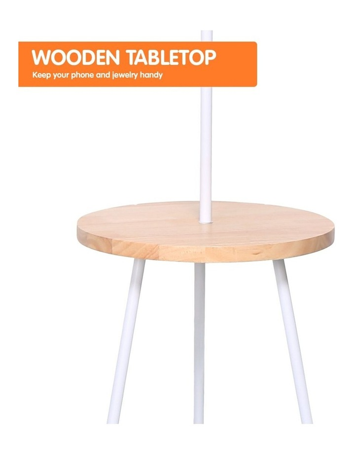 Metal Floor Lamp Stand Tripod In Round Shade Wooden Table Shelf White image 5