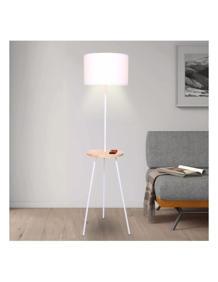 Metal Floor Lamp Stand Tripod In Round Shade Wooden Table Shelf White image 6