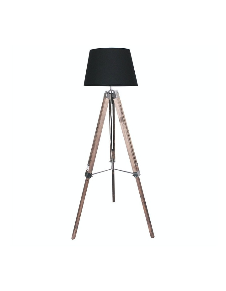 Solid Wood Tripod Floor Lamp Adjustable Height Stand Black Linen Round Shade image 1