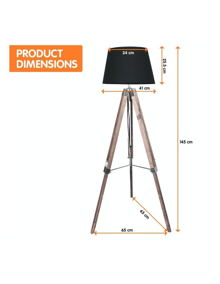 Solid Wood Tripod Floor Lamp Adjustable Height Stand Black Linen Round Shade image 2