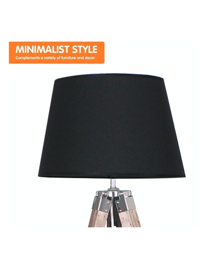 Solid Wood Tripod Floor Lamp Adjustable Height Stand Black Linen Round Shade image 3