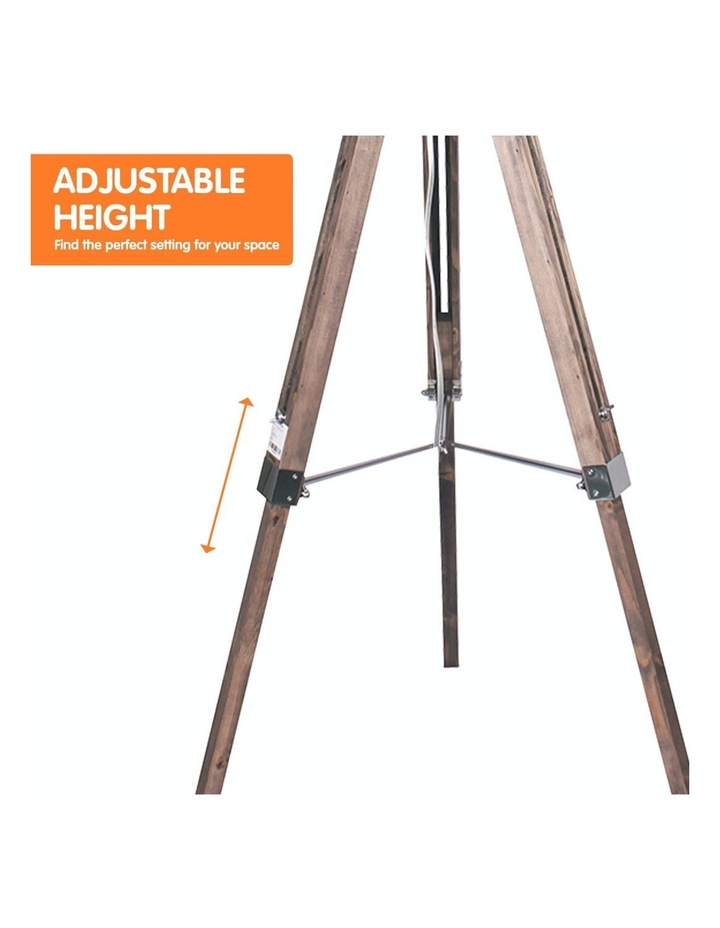 Solid Wood Tripod Floor Lamp Adjustable Height Stand Black Linen Round Shade image 4