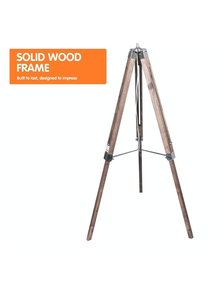 Solid Wood Tripod Floor Lamp Adjustable Height Stand Black Linen Round Shade image 5