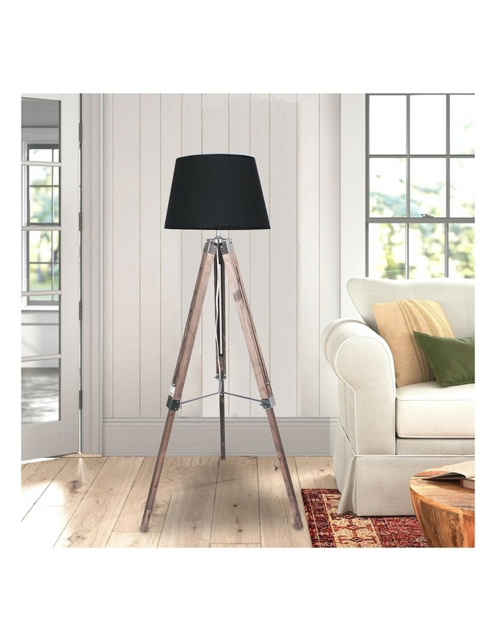 Solid Wood Tripod Floor Lamp Adjustable Height Stand Black Linen Round Shade image 6
