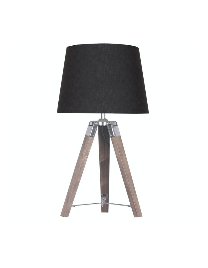 Wooden Tripod Table Lamp With Black Linen Taper Fabric Round Shade Reading Light image 1