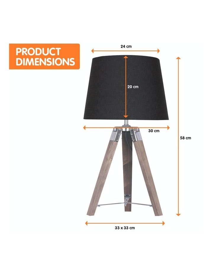 Wooden Tripod Table Lamp With Black Linen Taper Fabric Round Shade Reading Light image 2