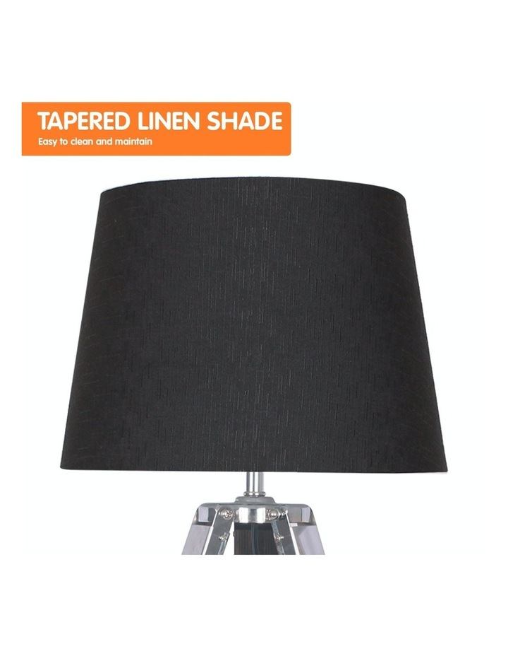 Wooden Tripod Table Lamp With Black Linen Taper Fabric Round Shade Reading Light image 3