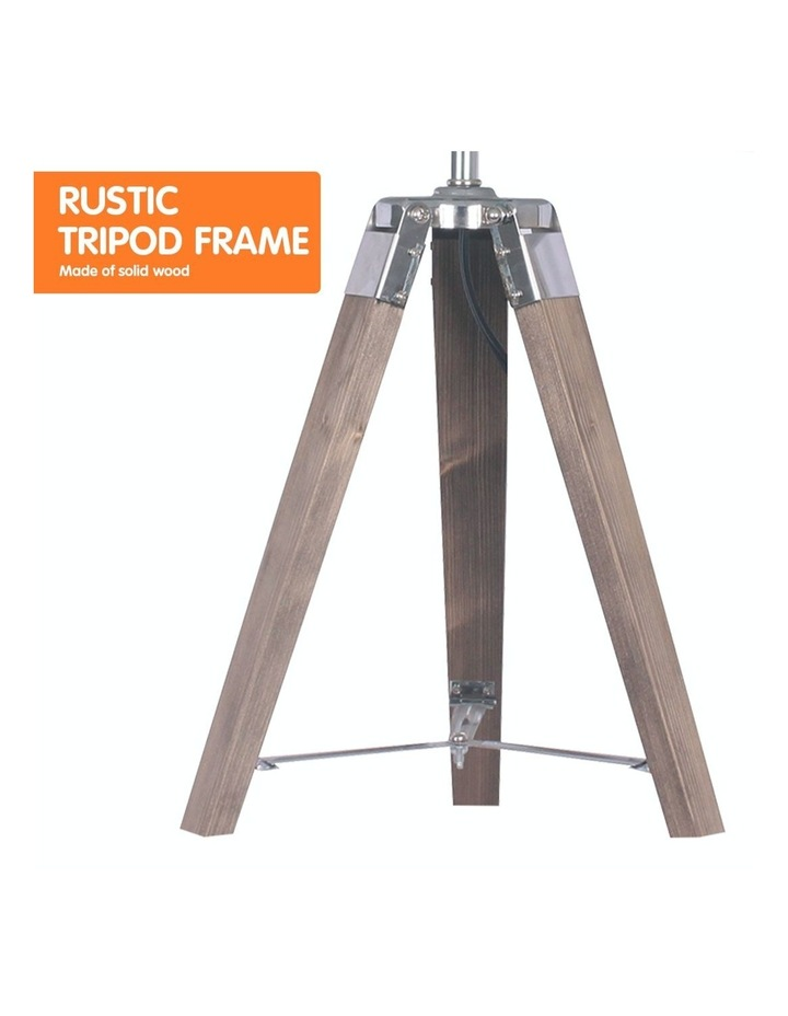 Wooden Tripod Table Lamp With Black Linen Taper Fabric Round Shade Reading Light image 4