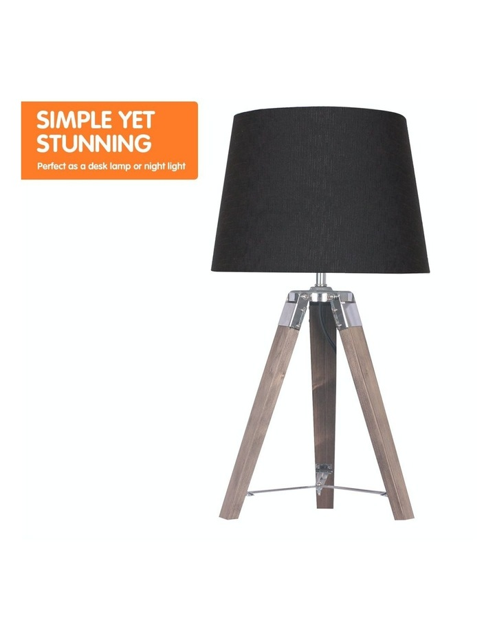 Wooden Tripod Table Lamp With Black Linen Taper Fabric Round Shade Reading Light image 5