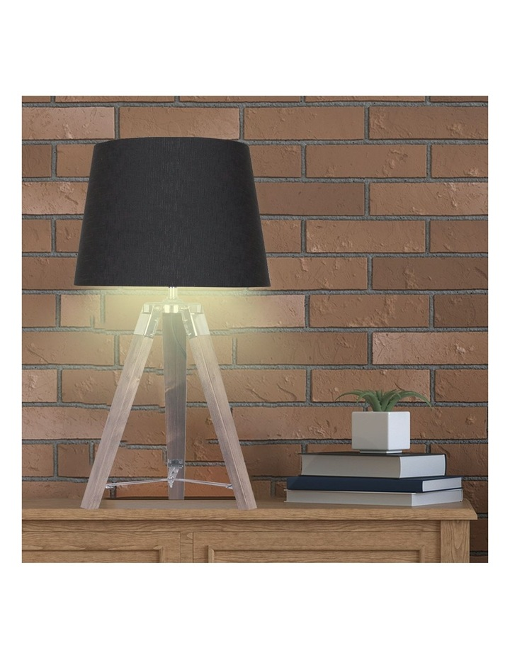 Wooden Tripod Table Lamp With Black Linen Taper Fabric Round Shade Reading Light image 6