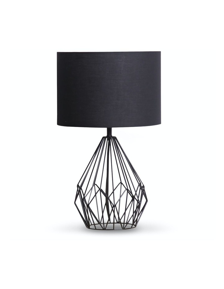 Metal Wire Table Lamp Black Finish Reading Light With Black Drum Shade image 1