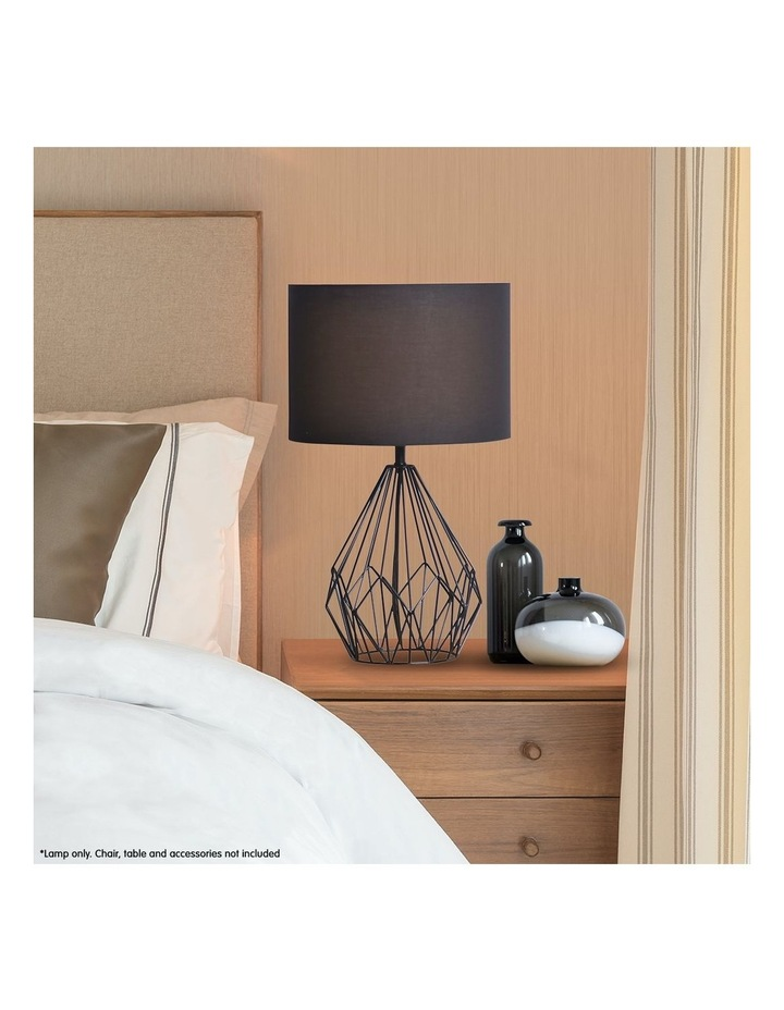 Metal Wire Table Lamp Black Finish Reading Light With Black Drum Shade image 2