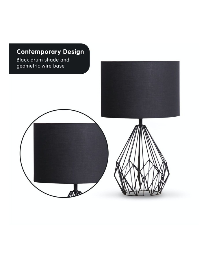 Metal Wire Table Lamp Black Finish Reading Light With Black Drum Shade image 3