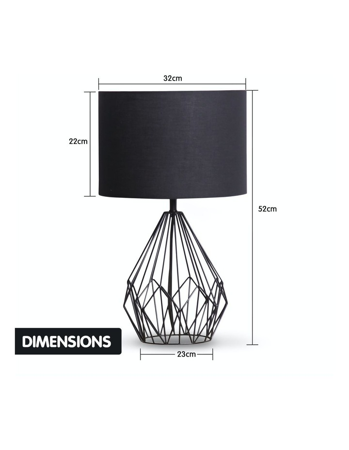 Metal Wire Table Lamp Black Finish Reading Light With Black Drum Shade image 5