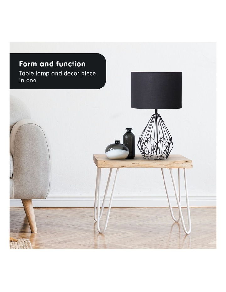 Metal Wire Table Lamp Black Finish Reading Light With Black Drum Shade image 6