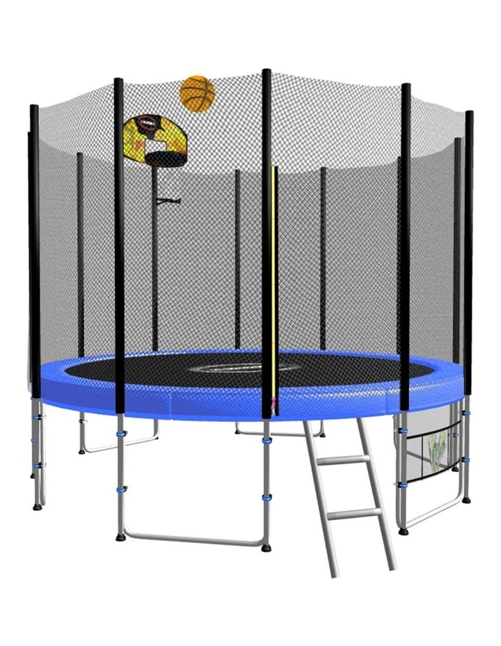 New 8ft Round Trampoline Free Safety Net pad mat ladder shoe Tidy basketball Set Blue image 1