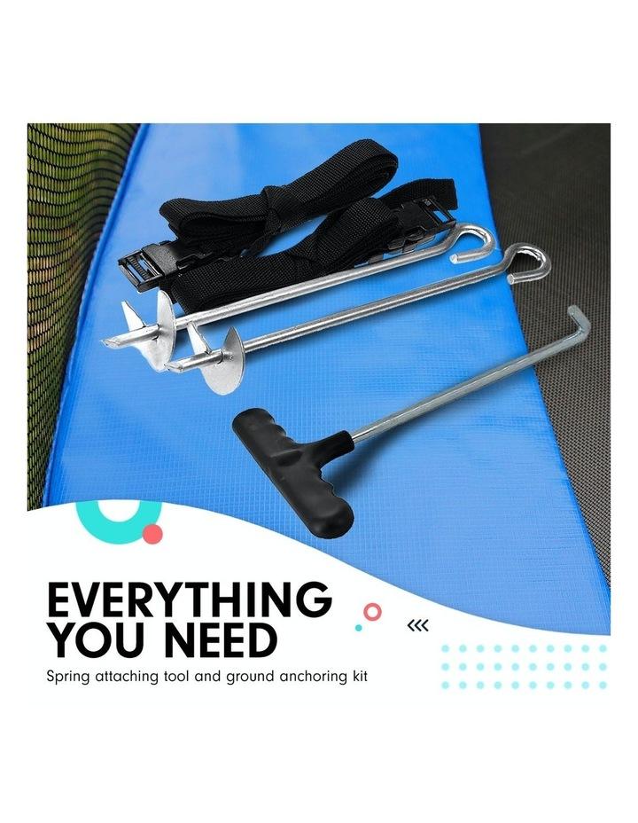New 8ft Round Trampoline Free Safety Net pad mat ladder shoe Tidy basketball Set Blue image 7