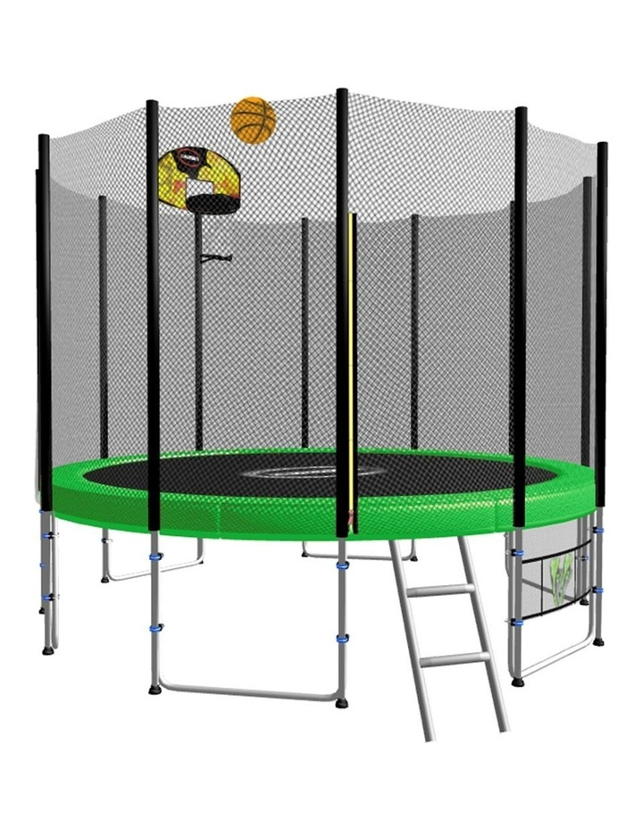 Blizzard 8ft Round Spring Trampoline Free Safety Net Pad Mat Ladder Shoe Tidy Basketball Set Green image 1