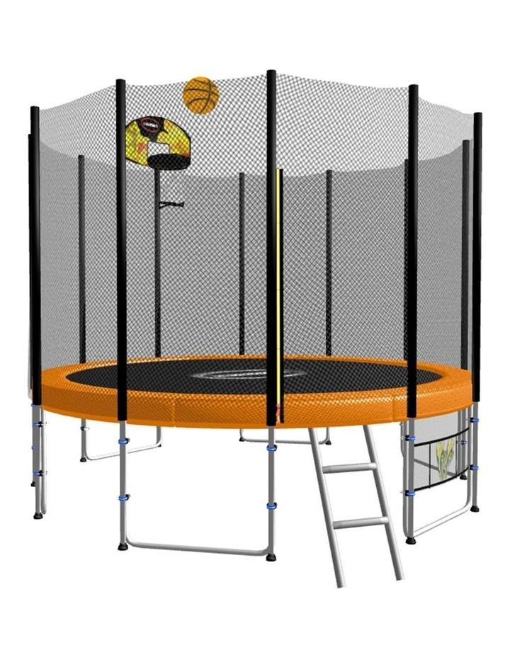 8ft Round Spring Trampoline Free Safety Outer Net pad mat ladder shoe Tidy Basketball Orange image 1