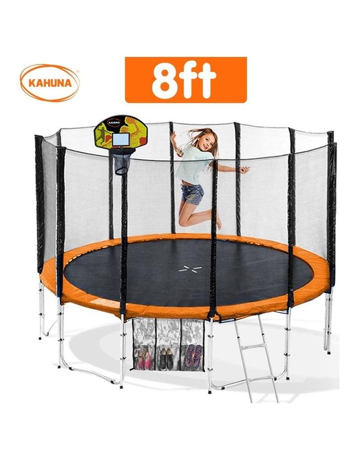 8ft Round Spring Trampoline Free Safety Outer Net pad mat ladder shoe Tidy Basketball Orange image 2