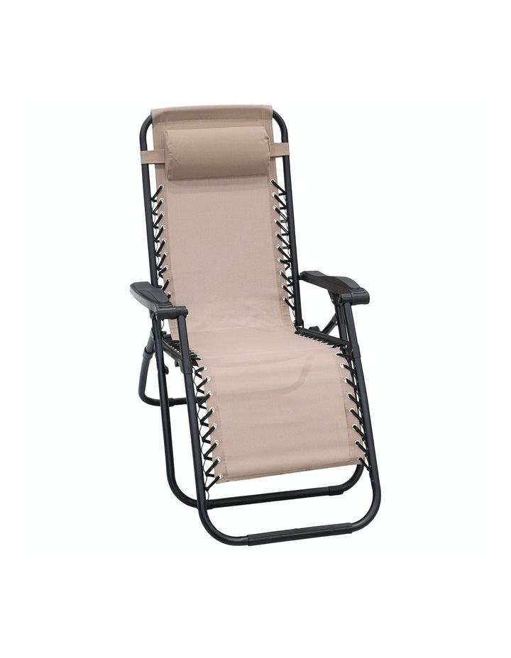 Zero Gravity Reclining Deck Lounge Sun Beach Chair Outdoor Folding Camping Beige image 1