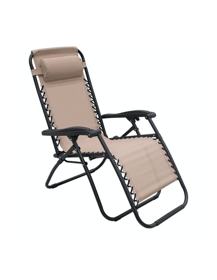 Zero Gravity Reclining Deck Lounge Sun Beach Chair Outdoor Folding Camping Beige image 2