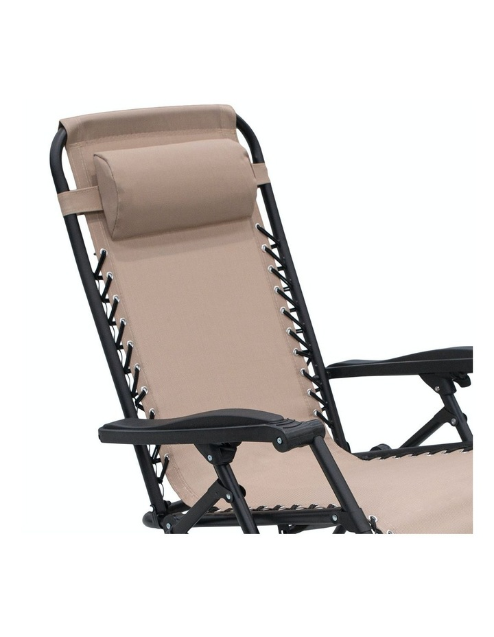 Zero Gravity Reclining Deck Lounge Sun Beach Chair Outdoor Folding Camping Beige image 3