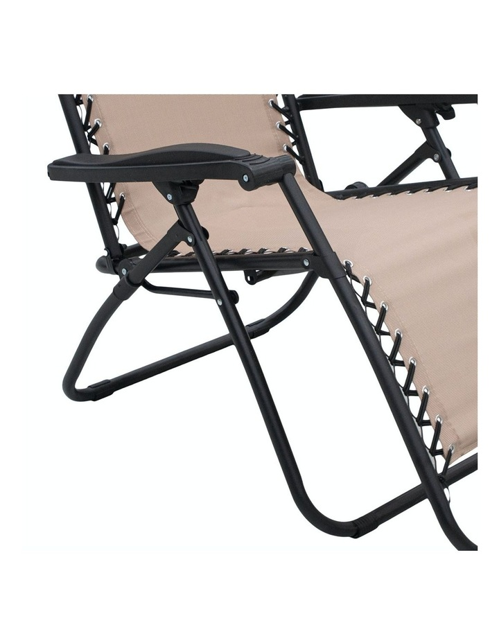 Zero Gravity Reclining Deck Lounge Sun Beach Chair Outdoor Folding Camping Beige image 5