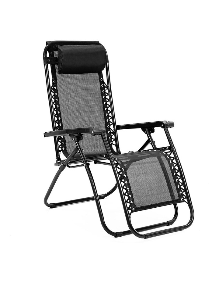 Zero Gravity Reclining Deck Lounge Sun Beach Chair Outdoor Folding Camping Black image 1
