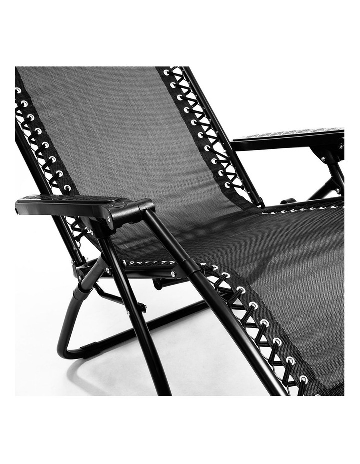Zero Gravity Reclining Deck Lounge Sun Beach Chair Outdoor Folding Camping Black image 2