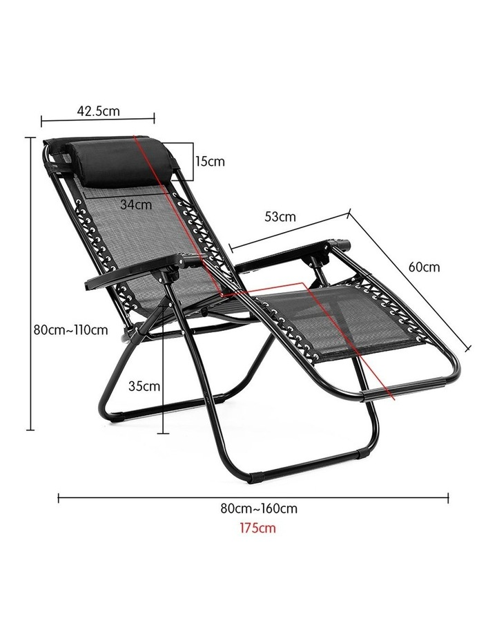 Zero Gravity Reclining Deck Lounge Sun Beach Chair Outdoor Folding Camping Black image 6