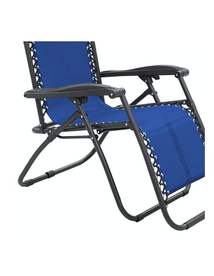 Zero Gravity Reclining Deck Lounge Sun Beach Chair Outdoor Folding Camping - Blue image 3