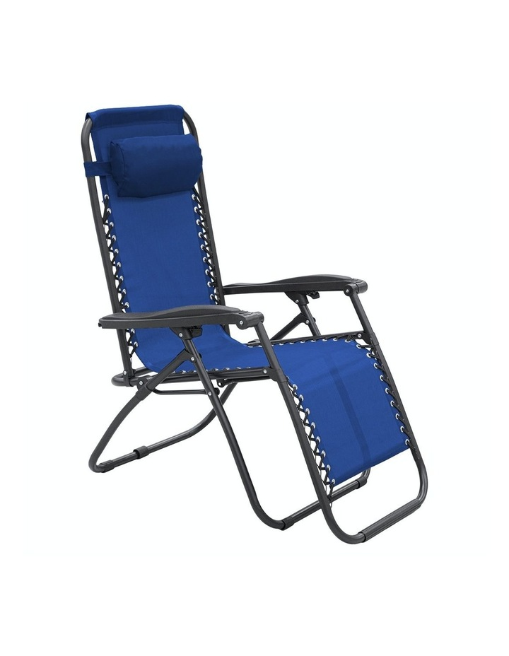 Zero Gravity Reclining Deck Lounge Sun Beach Chair Outdoor Folding Camping - Blue image 4