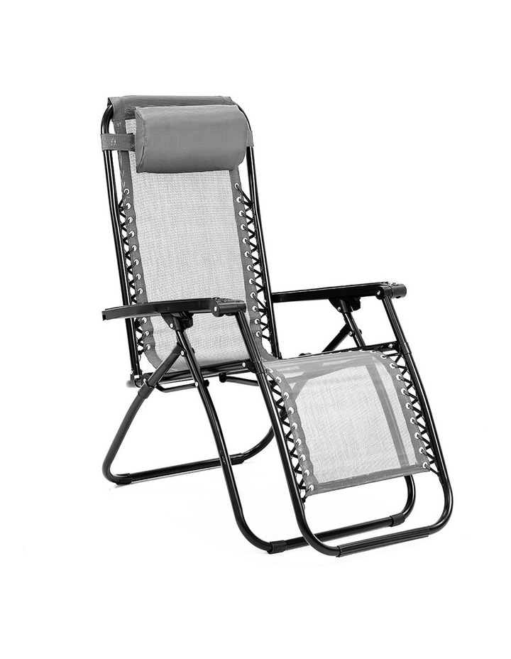 Zero Gravity Reclining Deck Lounge Sun Beach Chair Outdoor Folding Camping Grey image 1