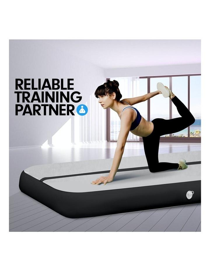 4m Inflatable Air Track Floor Exercise Gymnastics Tumbling Mat Yoga - Grey Black image 3