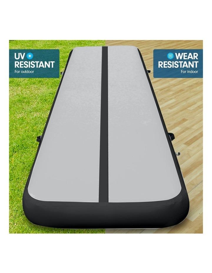4m Inflatable Air Track Floor Exercise Gymnastics Tumbling Mat Yoga - Grey Black image 6