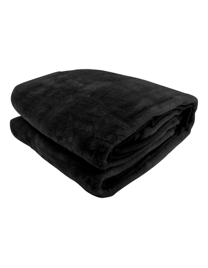 Mink Blanket Black Double Sided Queen Size Soft Plush Bed Faux Throw Rug image 1